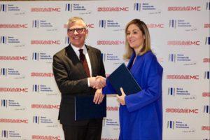 Emma Navarro, vice-Presidente do BEI, e Rui Almeida, diretor financeiro da Sonae MC