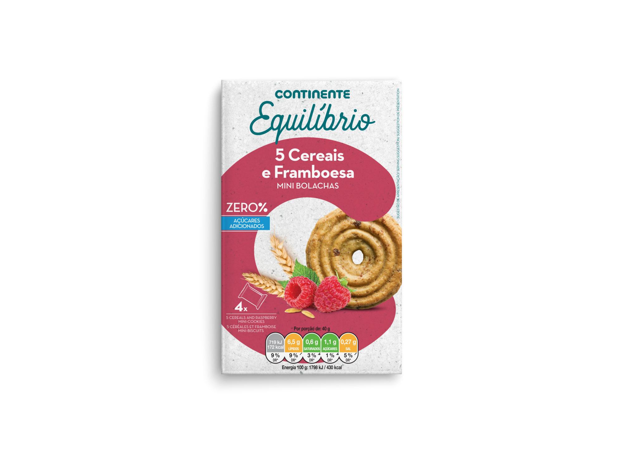 Mini Bolachas 5 Cereais e Framboesa CNT EQL 160g