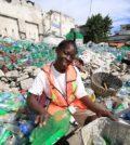 Woman processes bottles
