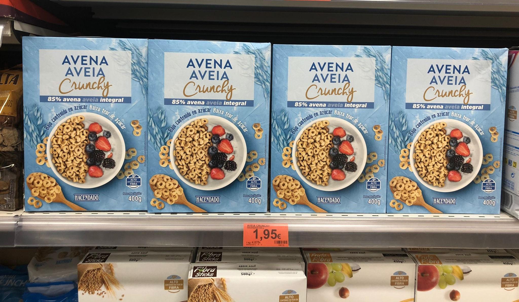 Cereais Aveia Crunchy no linear da Mercadona